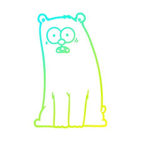 cold gradient line drawing of a cartoon surprised bear