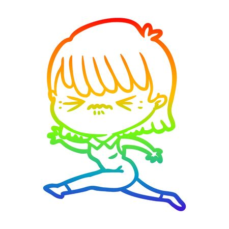 rainbow gradient line drawing of a cartoon woman jumping
