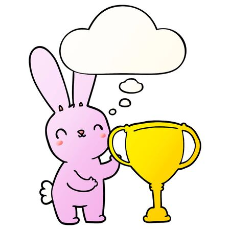 cute cartoon rabbit with sports trophy cup with thought bubble in smooth gradient style