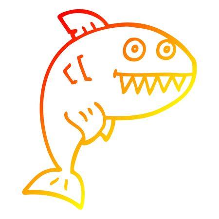 warm gradient line drawing of a cartoon deadly shark Stock fotó - 129822197