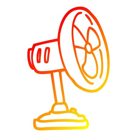 warm gradient line drawing of a cartoon desktop fan
