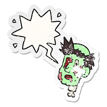 cartoon zombie head with speech bubble distressed distressed old sticker