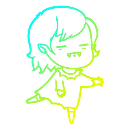 cold gradient line drawing of a cartoon undead vampire girl Illustration
