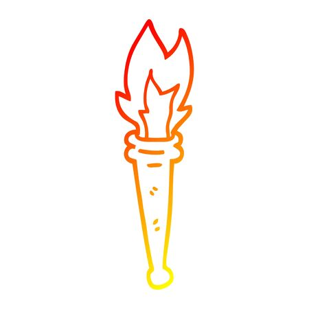 warm gradient line drawing of a cartoon sports torch