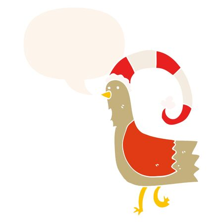 caroton chicken in funny christmas hat with speech bubble in retro style Illustration