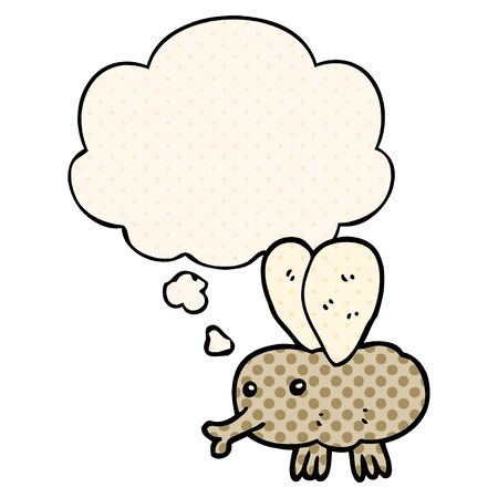 cartoon fly with thought bubble in comic book style Illusztráció