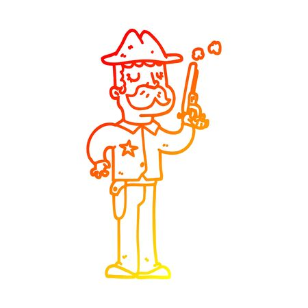 warm gradient line drawing of a cartoon sheriff Vettoriali
