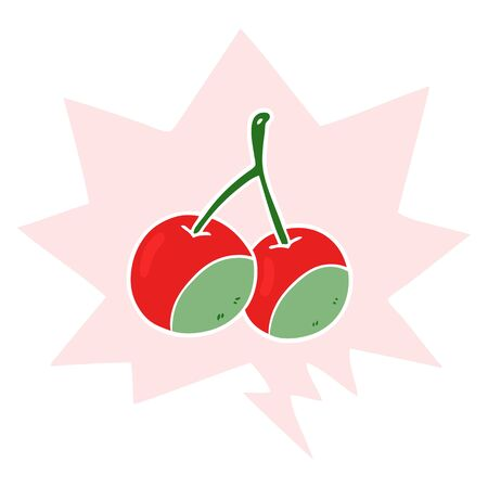cartoon cherries with speech bubble in retro style
