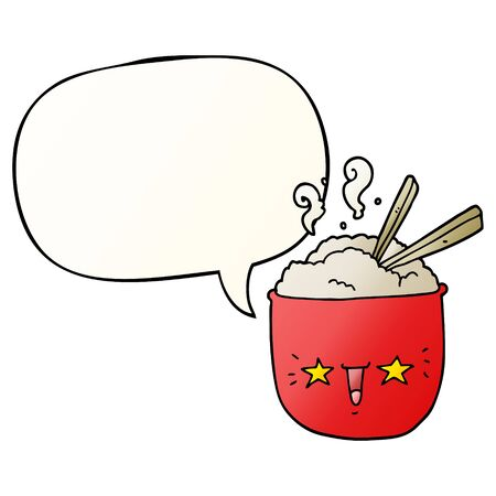 cartoon rice bowl with face with speech bubble in smooth gradient style