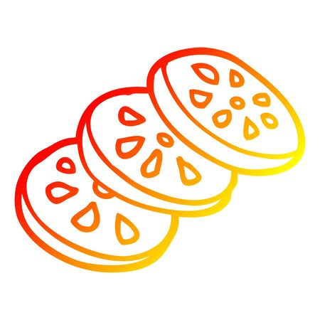 warm gradient line drawing of a cartoon sliced tomato 스톡 콘텐츠 - 129822266
