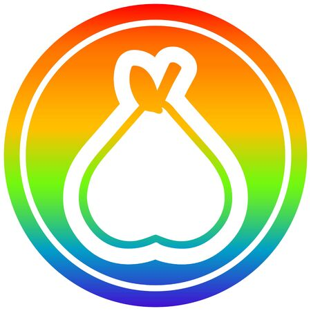 organic pear circular icon with rainbow gradient finish 向量圖像