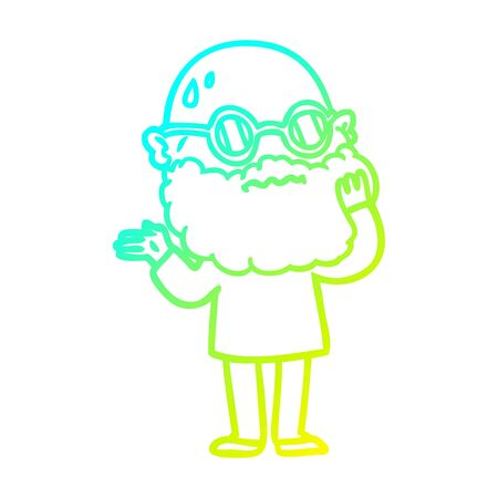 cold gradient line drawing of a cartoon worried man with beard and sunglasses Ilustrace