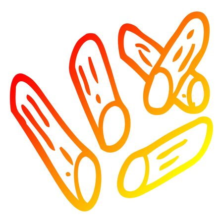 warm gradient line drawing of a cartoon pasta shapes Illustration