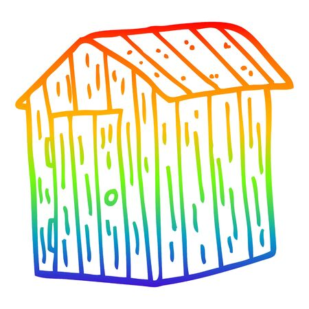 rainbow gradient line drawing of a cartoon wooden shed Illusztráció