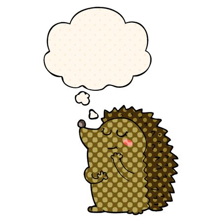 cute cartoon hedgehog with thought bubble in comic book style