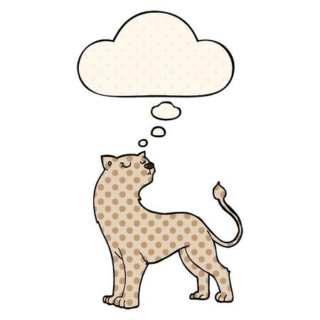 cartoon lioness with thought bubble in comic book style Stock Illustratie