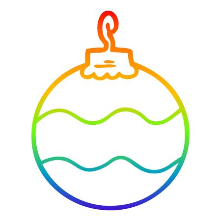rainbow gradient line drawing of a cartoon christmas bauble