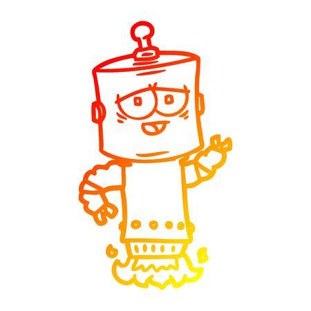 warm gradient line drawing of a cartoon robot Foto de archivo - 129822547