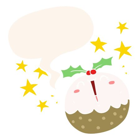 cute cartoon happy christmas pudding with speech bubble in retro style
