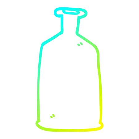 cold gradient line drawing of a cartoon clear glass bottle Ilustração