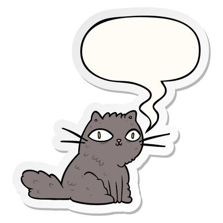 cartoon cat looking right at you with speech bubble sticker
