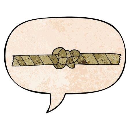 cartoon knotted rope with speech bubble in retro texture style
