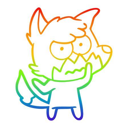 rainbow gradient line drawing of a cartoon annoyed fox Illustration