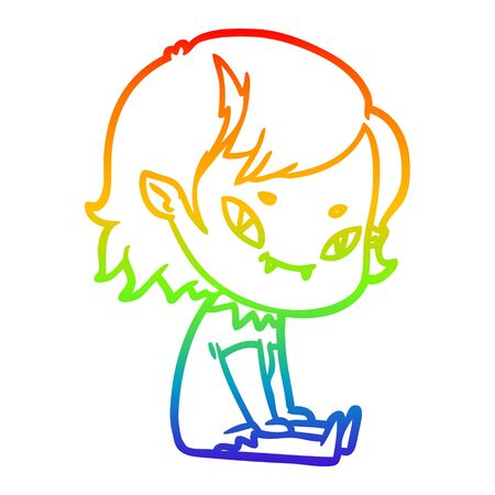 rainbow gradient line drawing of a cartoon friendly vampire girl sat down Фото со стока - 129822635