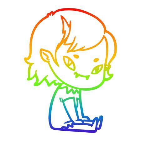 rainbow gradient line drawing of a cartoon friendly vampire girl sat down