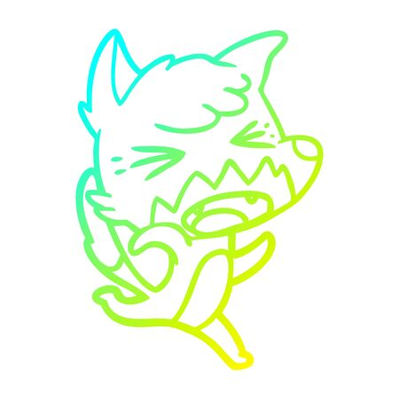cold gradient line drawing of a angry cartoon fox running