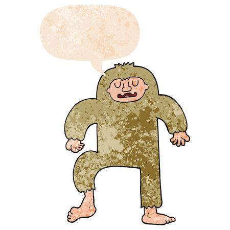 cartoon bigfoot with speech bubble in grunge distressed retro textured style
