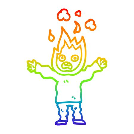 rainbow gradient line drawing of a cartoon man with head on fire