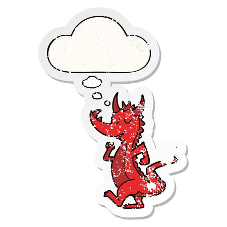 cartoon cute dragon with thought bubble as a distressed worn sticker