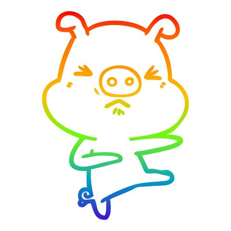 rainbow gradient line drawing of a cartoon angry pig kicking out Illustration