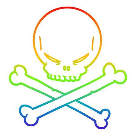 rainbow gradient line drawing of a cartoon skull and crossbones