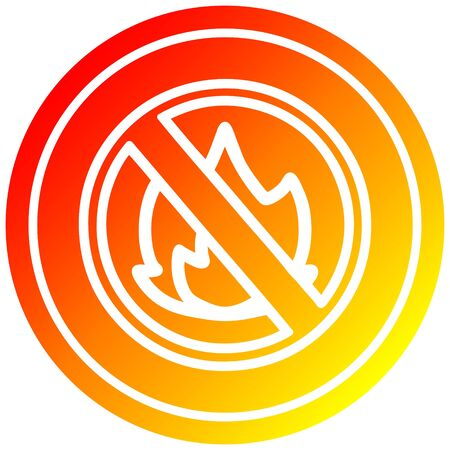 no flames circular icon with warm gradient finish