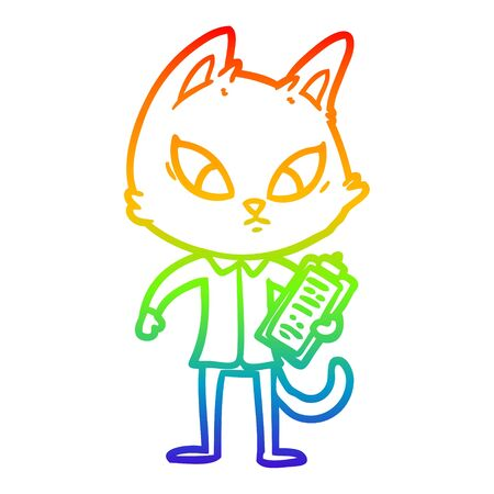 rainbow gradient line drawing of a confused cartoon business cat