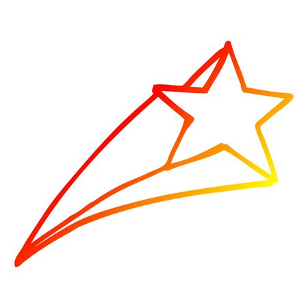 warm gradient line drawing of a cartoon shooting star