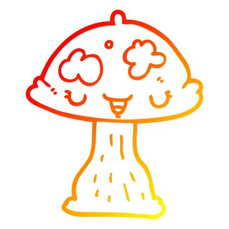warm gradient line drawing of a cartoon toadstool 向量圖像
