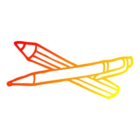 warm gradient line drawing of a cartoon pen