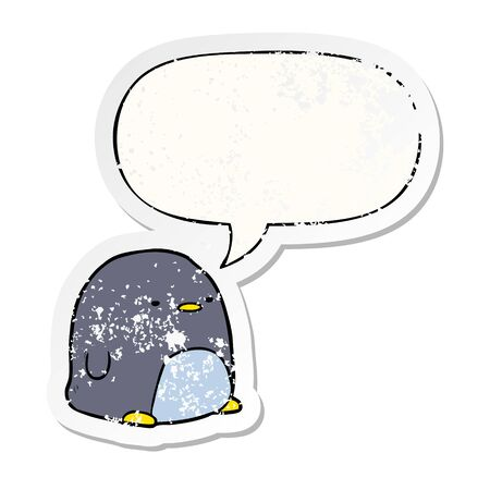 cute cartoon penguin with speech bubble distressed distressed old sticker