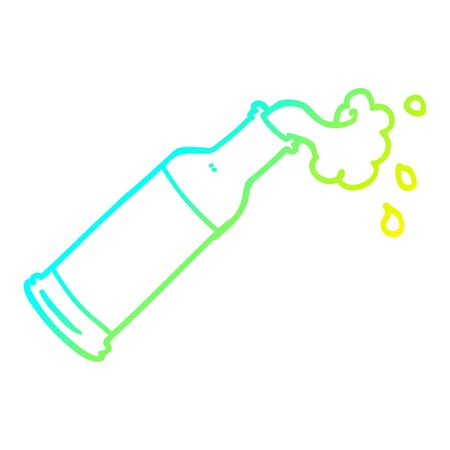 cold gradient line drawing of a cartoon foaming bottle