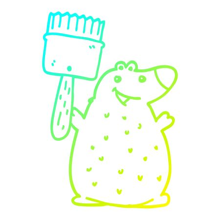cold gradient line drawing of a cartoon bear with paint brush