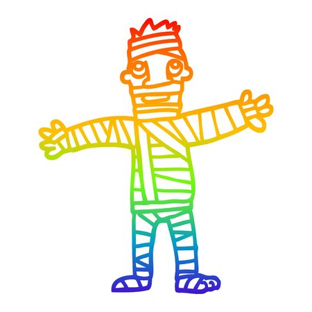 rainbow gradient line drawing of a cartoon man in bandages