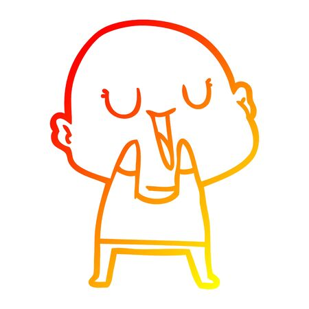warm gradient line drawing of a happy cartoon bald man