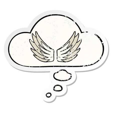 cartoon wings symbol with thought bubble as a distressed worn sticker Standard-Bild - 129835851
