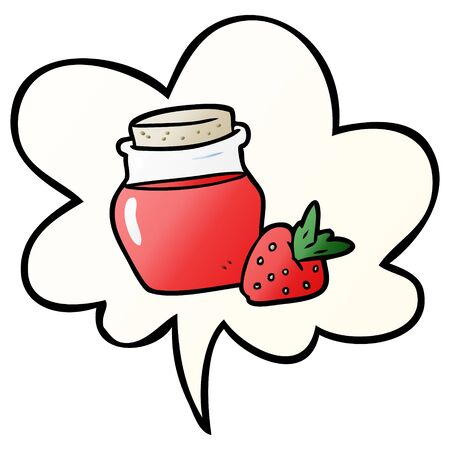 cartoon jar of strawberry jam with speech bubble in smooth gradient style Ilustracja