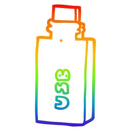 rainbow gradient line drawing of a cartoon flash drive Illustration