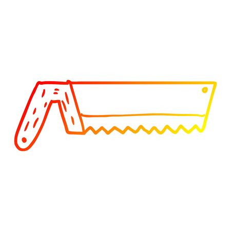 warm gradient line drawing of a old saw cartoon