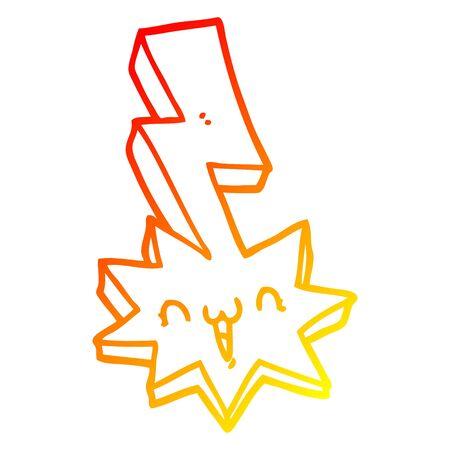 warm gradient line drawing of a cartoon lightning bolt